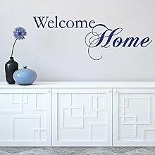 denoda® Welcome home Hellgrau 275 x 100 cm (Wandsticker Wanddekoration Wohndeko Wohnzimmer Kinderzimmer Schlafzimmer Wand Aufkleber)