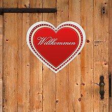 denoda® Willkommenherz Dunkelrot 86 x 75 cm (Wandsticker Wanddekoration Wohndeko Wohnzimmer Kinderzimmer Schlafzimmer Wand Aufkleber)