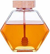 Denois Honigtopf Glas Honigglas mit Holzlöffel