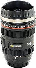 denshine Kamera Objektiv 24–105mm Edelstahl Objektiv Thermos Reise Becher/Tasse für Kaffee oder Tee schwarz