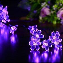 """dephen Solar-Outdoor-Lichterkette Design """"Blumen, Pfirsichblüten Feenlichter"""" 670 cm. 50LED-Leuchten, wasserdicht, für Garten, Rasen, Terrasse, Jäten, Party, Weihnachtsbaum, Hausdekoration Modern viole"""