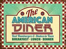 Der Amerikaner Diner roadside kaffee, 50er, 60er abendessen zeichen für küche, haus, essen, heim, Kaffee, Kaffee geschäft, pub, restaurant. Metall/Stahl Wand Zeichen - 20 x 30cm