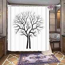 Der Baum Pattern Mehltau Proof Polyester Stoff Duschvorhang, mit 12 Haken ( Farbe : Weiß , größe : 180*180cm )