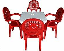 Der Garten-Plastikstühle Resol-Kinder u. Tabellen-gesetzte rote Stühle, weiße Tabelle - (Satz von 4 Stühlen u. von 1 Tabelle)