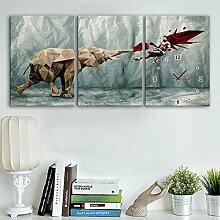Der König der Boxen Wanduhr Frameless Kunst Wohnzimmer Restaurant Dekoration Elefanten Leinwand bemalte Wanduhr , 28*40