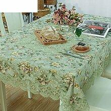 Der Stil Der Garten Frische Grüne Tischdecke,Spitze Tischläufer Gabe,Leinen Stuhlhussen-A 90x150cm(35x59inch)