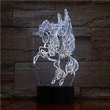 Der westliche Mythos Die Einhorn-3D-Lampe