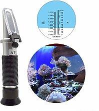 DerBlue Refraktometer/Salzmesser, Dual-Skala, Messwerkzeug für Aquarien und Meerwasser, 0%–10% & 1,0bis 1,070relative Dichte (Automatische Temperaturkompensation) Salinity Refractometer