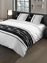 Descanso-Doppelbett 50/50 Polyester/Baumwolle, Bettbezug mit Stickerei, Schwarz/Weiß