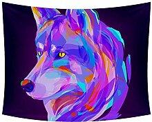 Desheze Geometrischer Wolf Wandteppich
