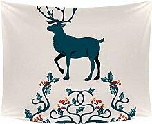 Desheze Weihnachtsblaue Elche Wandteppich