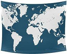 Desheze Weltkarte Wandteppich Schlafzimmer
