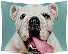 Desheze Zunge Heraus Bulldogge Wandteppich