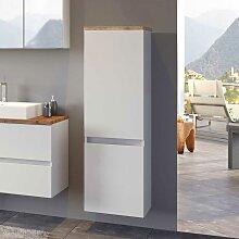 Design Bad Hochschrank in Weiß und Wildeiche