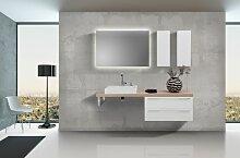 Design Badezimmer Set Weiß Hochglanz mit LED