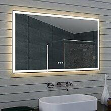 Design Badezimmerspiegel mit Dimmer, Warm- und Kaltweiß und Touchschalter 120 x 70 cm