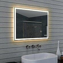 Design Badezimmerspiegel mit Dimmer, Warm und Kaltweiß und Touchschalter 80 x 60 cm