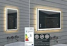 Design Badezimmerspiegel mit Dimmer, Warm- und Kaltweiß und Touchschalter 40 x 60 cm