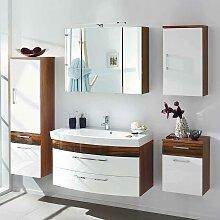 Design Badmöbel in Weiß Hochglanz Walnuss hängend (5-teilig)