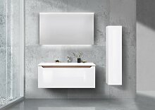 Design Badmöbel Set 120 cm, mit Hochschrank und
