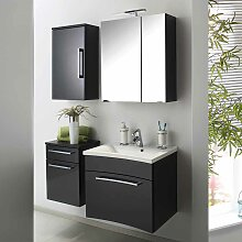 Design Badmöbel Set in Hochglanz Anthrazit modern (4-teilig)