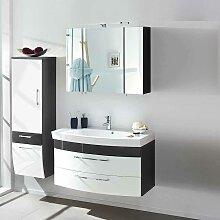 Design Badmöbel Set in Weiß Hochglanz Anthrazit