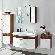 Design Badmöbel Set in Weiß Hochglanz Walnuss hängend (4-teilig)