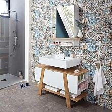 Design Badmöbel Set in Weiß Wildeiche Dekor