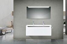 Design Badmöbel Set mit 120 cm Doppelwaschtisch,