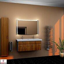 Design Badspiegel mit LED Beleuchtung Wandspiegel Bad Spiegel satinierte Lichtflächen S350 (Breite: 180 x Höhe: 80 cm)