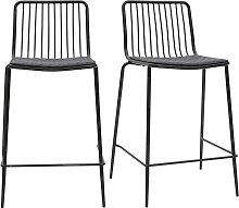 Design-Barhocker aus Metall Schwarz mit Kissen 65