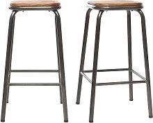 Design-Barhocker dunkles Holz und Edelstahl 65 cm