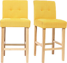 Design-Barhocker gepolstert Gelb und Holz 65 cm