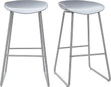 Design-Barhocker Grau mit Metallbeinen (2 Stk.)