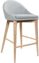 Design-Barhocker Holz Polyester Hellgrau 65 cm