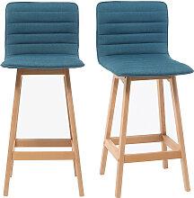 Design-Barhocker Holz und Blaugrün 65 cm 2 Stck.