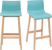Design-Barhocker Holz und Blaugrün 75 cm 2 Stck.