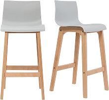Design-Barhocker Holz und Hellgrau 75 cm 2 Stck.