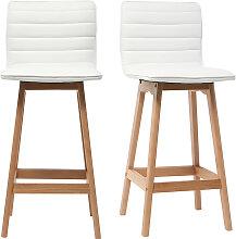 Design-Barhocker Holz und PU Weiß 65 cm 2 Stck.