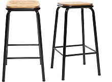 Design-Barhocker Holz und Schwarz 65 cm 2 Stück