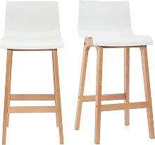 Design-Barhocker Holz und Weiß 75 cm 2 Stck. NEW