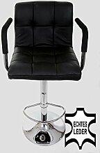 Design Barhocker schwarz ECHT LEDER