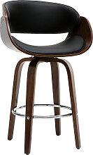 Design-Barhocker Schwarz und dunkles Holz 65 cm