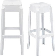 Design-Barhocker Weiß 75 cm 2er-Set CLEAR