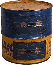 Design Beistelltisch als Metalltonne Blau Gelb