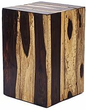 Design Beistelltisch aus Echtholz Holz-Hocker Natur Treibholz Eckig Holzblock 45 cm Höhe Garten Block Holzklotz Nachttisch