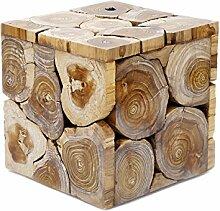 Design Beistelltisch Aus Teakholz Holzblock Couchtisch Blumen-Hocker Massiv Landhaus Edel Robust Braun Weiß Schwarz Lackiert Brillibrum Flyer (Tisch - klein / White Wash)