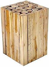 Design Beistelltisch Couchtisch Teakholz Teak massiv Holz-Block Hocker Holzkotz Nachttisch von Brillibrum