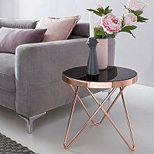Design Beistelltisch Dreibein Metall Glas ø 42 cm