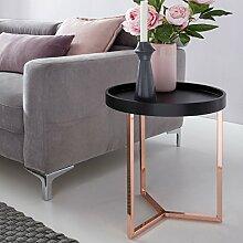 Design Beistelltisch GIVE mit Tablett Schwarz abnehmbar 40 cm Rund Kupfer | Couchtisch Holz | Wohnzimmertisch als Tabletttisch Modern